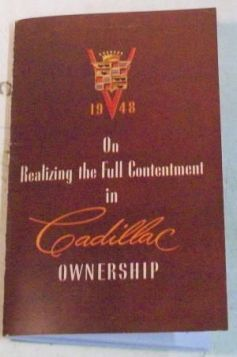 1948 Cadillac Owners Manual  REPRODUCTION Free Shipping In The USA