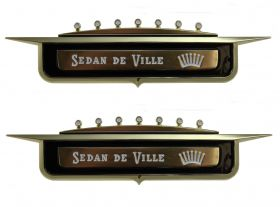 1958 Cadillac Sedan Deville Front Fender Emblem 1 Pair REPRODUCTION Free Shipping In The USA