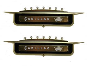 1958 Cadillac Series 62 Front Fender Emblem 1 Pair REPRODUCTION Free Shipping In The USA