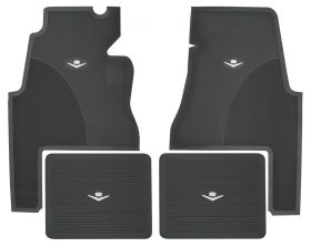1959 1960 Cadillac 2-Door Black Rubber Floor Mats (4 Pieces) REPRODUCTION Free Shipping In The USA