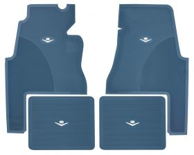 1959 1960 Cadillac 2-Door Blue Rubber Floor Mats (4 Pieces) REPRODUCTION Free Shipping In The USA
