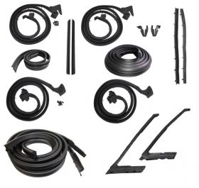 1965 1966 Cadillac Calais and Deville 4-Door Hardtop (No Pillar) Advanced Weatherstrip Kit (16 Pieces) REPRODUCTION Free Shipping In The USA