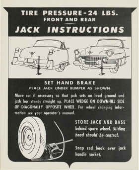 1954 Cadillac Jacking Instructions Decal REPRODUCTION