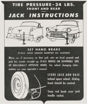 1955 Cadillac Jacking Instructions Decal REPRODUCTION