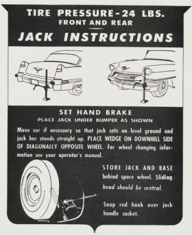 1956 Cadillac Jacking Instructions Decal REPRODUCTION