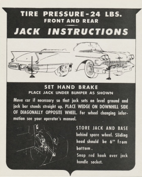 1958 Cadillac Eldorado Biarritz Jacking Instructions Decal REPRODUCTION