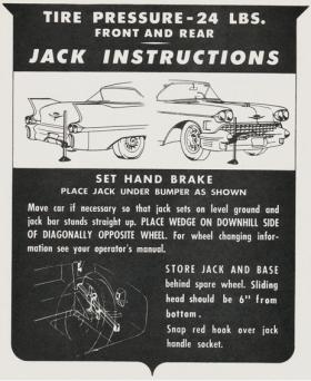 1958 Cadillac (EXCEPT Eldorado Biarritz) Jacking Instructions Decal REPRODUCTION