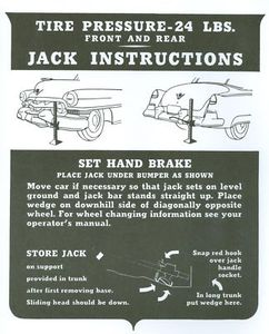 1951 1952 Cadillac Jacking Instructions Decal REPRODUCTION
