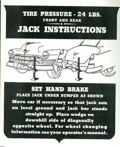 1950 Cadillac Jacking Instruction Decal REPRODUCTION