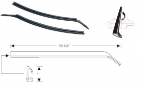 1967 1968 Cadillac Calais and Deville 2-Door Hardtop Quarter Window Leading Edge Rubber Weatherstrips 1 Pair REPRODUCTION Free Shipping In The USA