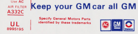 "1976 Cadillac Air Cleaner ""Keep Your GM Car All GM"" Decal REPRODUCTION"