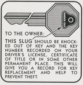 1936 1937 1938 1939 1940 1941 1942 1946 1947 1948 1949 1950 1951 1952 1953 1954 1955 Cadillac Glove Box Door Key Decal REPRODUCTION