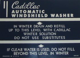 1948 1949 1950 1951 1952 Cadillac Washer Jar Decal REPRODUCTION