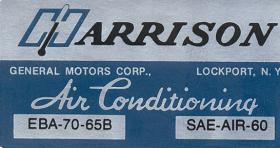 1965 Cadillac Air Conditioner Evaporator Box Decal REPRODUCTION