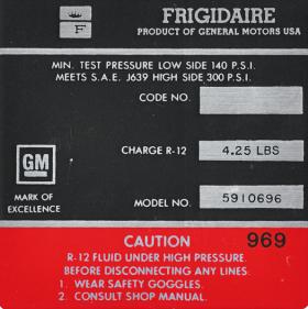 1966 Cadillac Air Conditioner Compressor Decal REPRODUCTION