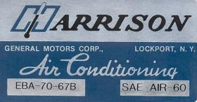 1967 Cadillac Harrison Air Conditioner Evaporator Box  Decal REPRODUCTION