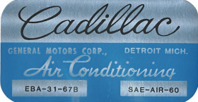 1967 1968 1969 1970 Cadillac Air Conditioner Evaporator Box  Decal Cadillac REPRODUCTION
