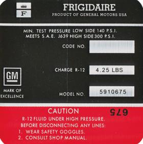 1967 Cadillac ( Except Eldorado) Air Conditioner Compressor Decal Cadillac REPRODUCTION