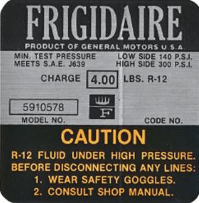 1967 Cadillac Eldorado Only Air Conditioner Compressor Decal Cadillac REPRODUCTION