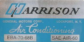 1968 Cadillac Harrison Air Conditioner Evaporator Box  Decal Cadillac REPRODUCTION