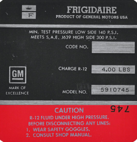 1969 Cadillac  Air Compressor Decal  REPRODUCTION