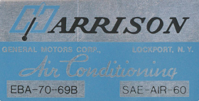 1969 Cadillac Harrison Air Conditioning Evaporator Box Decal  REPRODUCTION