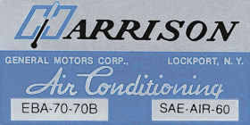 1970 Cadillac Harrison Air Conditioning Evaporator Box Decal  REPRODUCTION