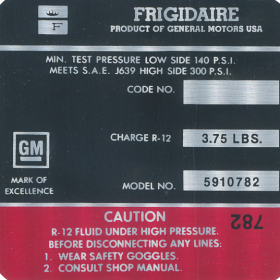 1971 Cadillac  Air Compressor Decal  REPRODUCTION