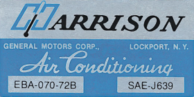 1972 Cadillac Harrison Air Conditioning Evaporator Box Decal  REPRODUCTION