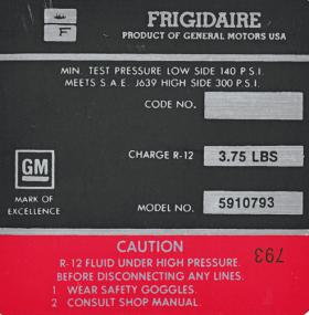 1972 Cadillac Air Compressor Decal  REPRODUCTION