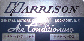 1976 Cadillac (Except Seville) Harrison Air Conditioning Evaporator Box Decal  REPRODUCTION