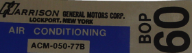 1977 Cadillac (Except Seville) Harrison Air Conditioning Evaporator Box Decal  REPRODUCTION