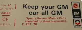 1977 Cadillac (Except Seville) Air Cleaner Decal All GM REPRODUCTION
