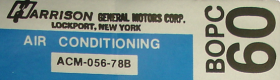 1978 Cadillac (Except Seville) Harrison Air Conditioning Evaporator Box Decal  REPRODUCTION