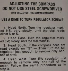 1937 1938 1939 1940 1941 1942 1946 1947 1948 1949 Cadillac Glove Box Door Compass Instruction Tag REPRODUCTION