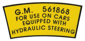 1952 1953 1954 1955 1956 1957 Cadillac Power Steering Pulley Decal REPRODUCTION
