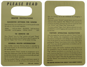 1953 Cadillac Heater Instruction Tag REPRODUCTION