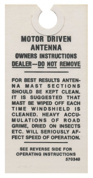 1954-1955-1956-1957-1958-1959-1960-1961-1962-1963-cadillac-electric-antenna-instructions-tag-reproduction