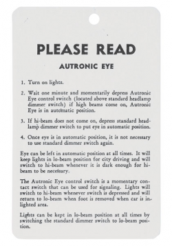 1957 1958 1959 Cadillac Autronic Eye Instructions Tag REPRODUCTION