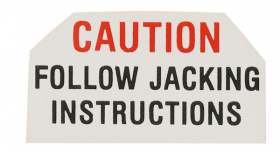 "1959 1960 1961 Cadillac Jack Base ""Caution"" Decal REPRODUCTION"
