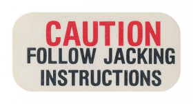 "1962 1963 1964 Cadillac Jack Base ""Caution"" Decal REPRODUCTION"