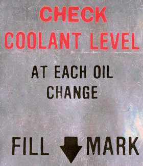 """1966 1967 Cadillac Coolant Level System """"Caution"""" Decal REPRODUCTION"""