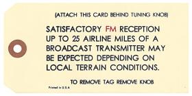 1966 1967 1968 Cadillac AM / FM Radio Antenna Tag REPRODUCTION