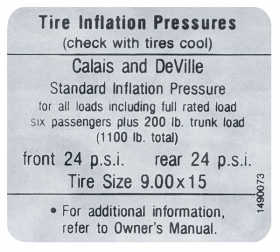 1967 Cadillac Calis & Deville Models Tire Pressure Decal REPRODUCTION