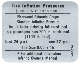 1967 1968 Cadillac Eldorado Models Tire Pressure Decal REPRODUCTION