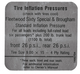 1968 1969 Cadillac Fleetwood Models Tire Pressure Decal REPRODUCTION