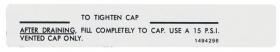 1970 Cadillac Radiator Cap Instructions Decal REPRODUCTION