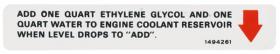 1970 Cadillac Eldorado Cooling System Decal REPRODUCTION