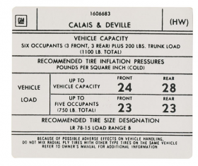 1975 1976 Cadillac Calais & DeVille Models Tire Pressure Decal REPRODUCTION