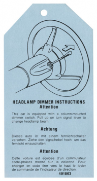 1976 1977 Cadillac Headlight Dimmer Instructions Tag REPRODUCTION